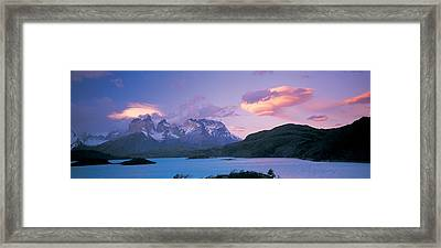 Clouds Over Mountains, Towers Of Paine Framed Print by Panoramic Images