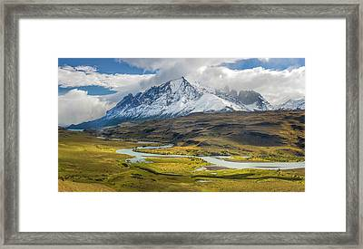 Clouds Over Snowcapped Mountain, Mt Framed Print by Panoramic Images