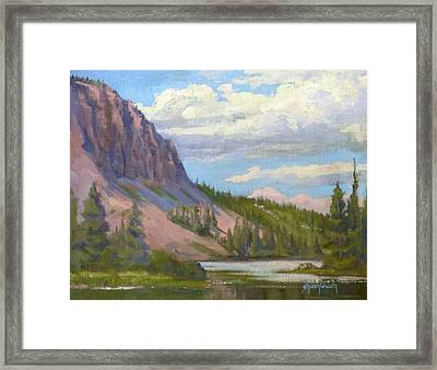 Clouds Over The Twin Lakes Framed Print by Sharon Weaver