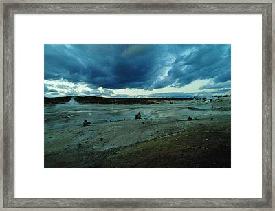Clouds Over Yellowstone Hot Springs Framed Print by Jeff Swan