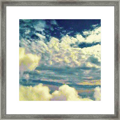 Clouds With Yellow Flecks - Square Framed Print