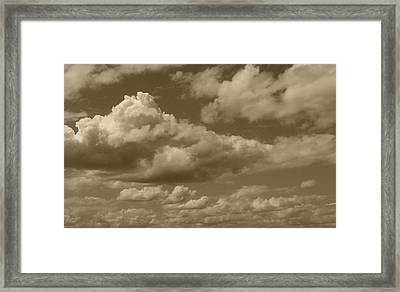 Cloudscape In Sepia Framed Print by Suzanne Gaff