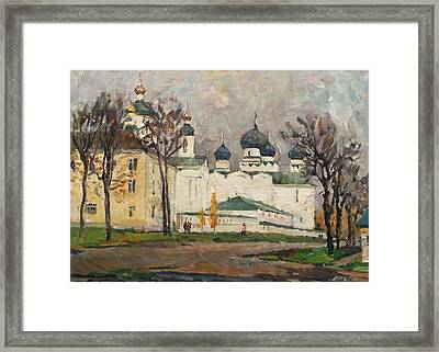 Cloudy At Uglich Framed Print