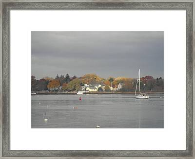 Cloudy Autumn Day On Wickford Harbor Framed Print
