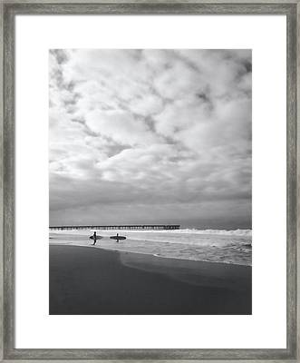 Cloudy Beach Morning Framed Print by Art Block Collections