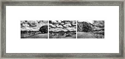 Cloudy Countryside Collage - Black And White Framed Print