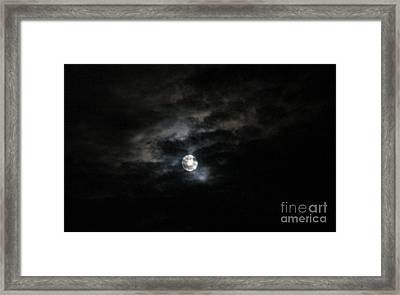 Night Time Cloudy Dark Moon Framed Print by Barbara Yearty