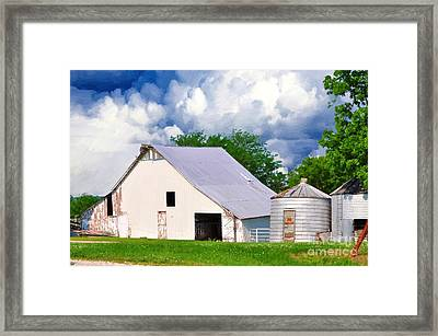 Cloudy Day In The Country Framed Print by Liane Wright