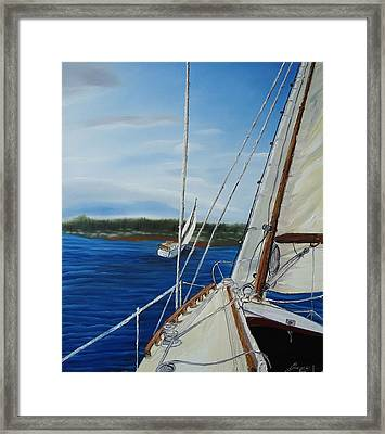 Cloudy Day Sailing Boats Framed Print by Portland Art Creations