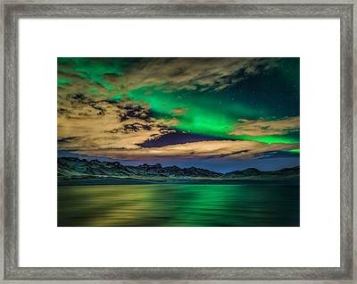 Cloudy Evening With Aurora Borealis Or Framed Print by Panoramic Images