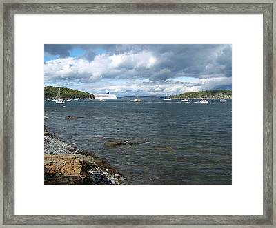 Framed Print featuring the photograph Cloudy Harbor by Gene Cyr