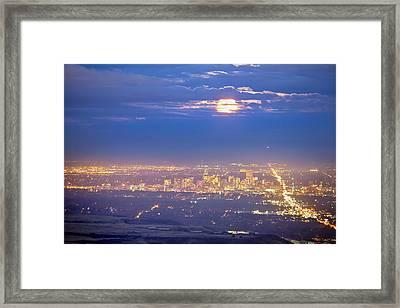 Cloudy Hazy Denver Colorado September Super Moon Framed Print