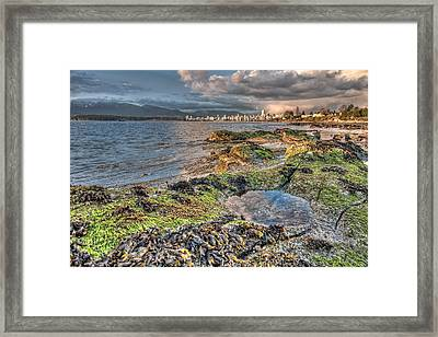Cloudy In Downtown Vancouver Framed Print by James Wheeler