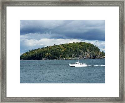 Framed Print featuring the photograph Cloudy Island by Gene Cyr