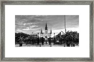 Cloudy Morning At  St. Louis Cathedral In Black And White Framed Print