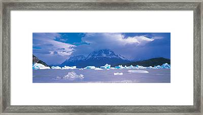 Cloudy Sky Over Mountains, Lago Grey Framed Print