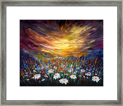 Framed Print featuring the painting Cloudy Sunset In Valley by Lilia D