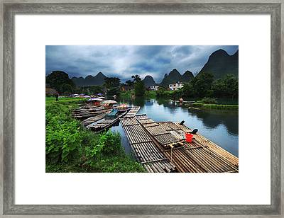 Framed Print featuring the photograph Cloudy Village by Afrison Ma