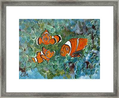Clown Fish Art Original Tropical Painting Framed Print