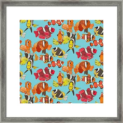 Clown Fish Blue Framed Print