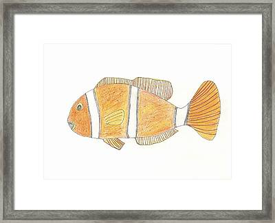 Framed Print featuring the drawing Clown Fish by Helen Holden-Gladsky