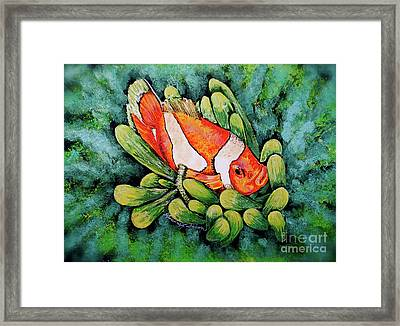 Clown In The Anemone Framed Print by Linda Simon
