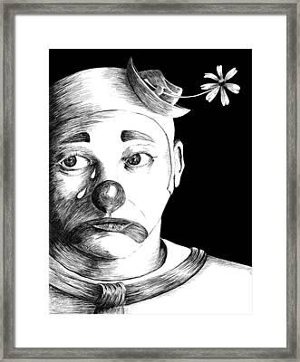Clown Of Tears Framed Print by Carl Genovese