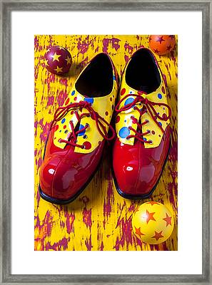 Clown Shoes And Balls Framed Print