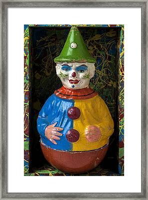 Clown Toy In Box Framed Print by Garry Gay