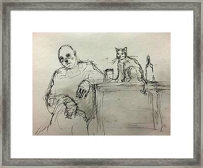 Clown With Cat And Whiskey Framed Print by H James Hoff