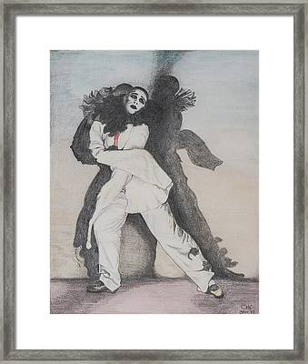 Clown With Shadows Framed Print by Carolyn Hubbard-Ford