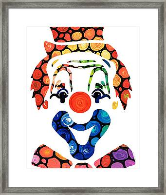 Clownin Around - Funny Circus Clown Art Framed Print by Sharon Cummings