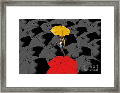 Clowning On Umbrellas 01 - A11 Framed Print