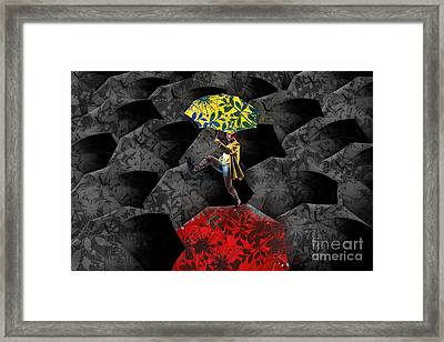 Clowning On Umbrellas 01 - C07c Framed Print by Variance Collections