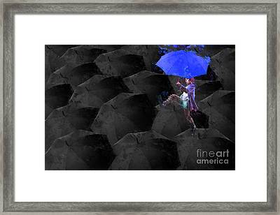 Clowning On Umbrellas 02 - A02- Blue Framed Print