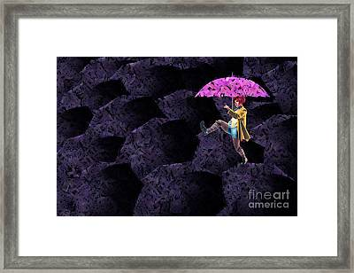 Clowning On Umbrellas 02 - A08-purple Framed Print