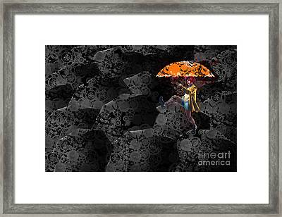 Clowning On Umbrellas 02 -a10a Framed Print