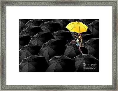 Clowning On Umbrellas 03-a13-1 Framed Print