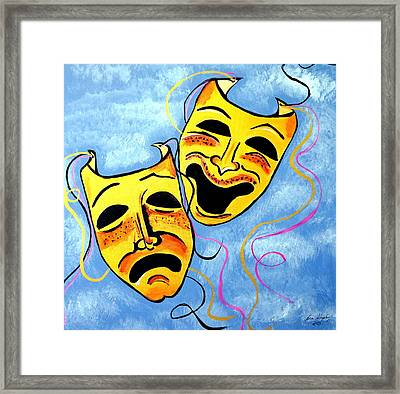 Framed Print featuring the painting Comedy And Tragedy by Nora Shepley