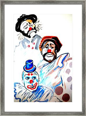 Framed Print featuring the painting Clowns In Heaven by Nora Shepley