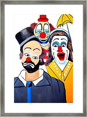 Framed Print featuring the painting Clowns In Shock by Nora Shepley