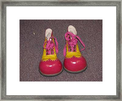 Clowns Red Shoes Framed Print by Dick Willis