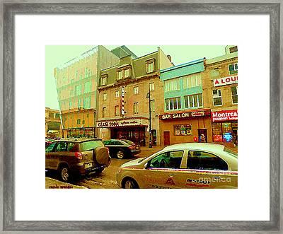 Club Soda  Bar Salon Midway Montreal Pool Room St Laurent Tavern Hotdog Resto City Scenes C Spandau Framed Print by Carole Spandau