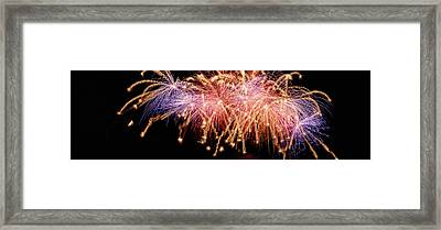 Cluster Of Fireworks Exploding Framed Print