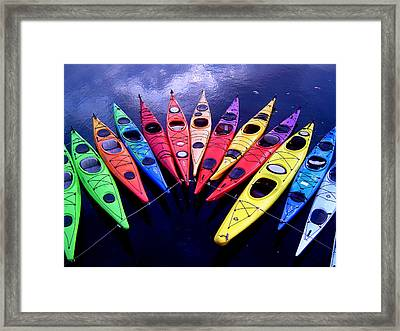 Clustered Kayaks Framed Print