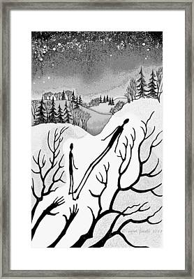 Framed Print featuring the digital art Clutching Shadows by Carol Jacobs