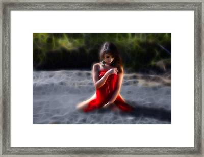 Clutching The Red Framed Print