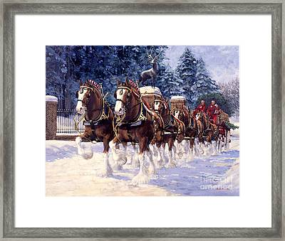 Clydesdale Hitch Grants Farm Winter Framed Print by Don  Langeneckert