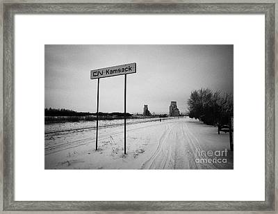 Cn Canadian National Railway Tracks And Grain Silos Kamsack Saskatchewan Canada Framed Print by Joe Fox