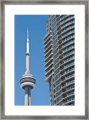 Framed Print featuring the photograph Cn Tower Toronto Ontario by Marek Poplawski